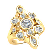 1.25ct Round Real Diamond 10k Gold Engagement Ring For Women Bezel Retro Gh Si1