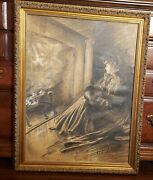 Rare Victorian Pencil Drawing By Victor Perard Author Of Anatomy And Drawing