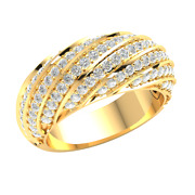 Natural 1.25ctw Round Cut Diamond 18k Gold Wedding Band For Women Dome H Si2