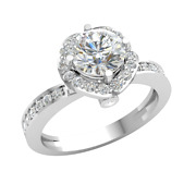 Natural 1.2ct Round Diamond 14k Gold Engagement Ring Ladies Halo Solitaire Gh I1