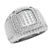 1.6ctw Round Natural Diamond 18k Gold Engagement Ring For Men Micro Pave H Si2
