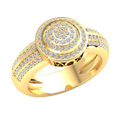 0.7ct Round Cut Genuine Diamond 14k Gold Engagement Ring For Women Cluster Gh I1