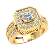 18k Gold Engagement Ring 1.2ctw Natural Round Diamond For Women Solitaire Halo