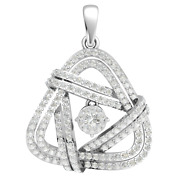 1.6ct Real Round Cut Diamond 14k Gold Pendant For Women Traingle Pave Gh I1