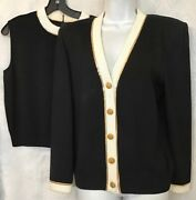 St John Evening Top And Cardigan Black Knit Gold And White Pyette Trim Size Med