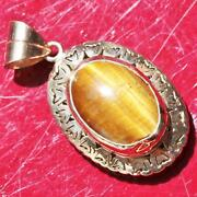 1900and039s Antique 14k Yellow Gold Large Tigerand039s Eye Solitaire Pendant Handmade 8.1g