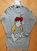 Love Moschino Pullover Sweater Dress Long Sleeve Grey / Multi-color Size S-m