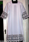 White Alb Square Neck Priest Clothing Rochet Latin Vestment Lace Size Small