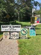 Vintage Original Oil Advertising Sign Sunoco Gas And Variety Store Upstate Ny