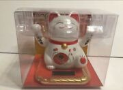 """Solar Powered Lucky Cat With 2 Hands Waving Figuire Toy. Size4""""h"""