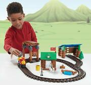 Lincoln Logs Sawmill Express Train - Real Wood Logs - Buildable Train Track - 10