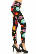 Womenand039s Plus Colorful Planets Pattern Printed Leggings