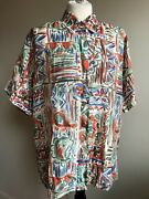 Vtg Best American Clothing M All Over Print Button Front 100 Silk Blouse Top