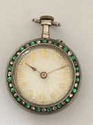 Antique Small Pocket Watch Set Throughout With Round Cut Gemstones Enamel Dial