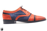 Handmade Menand039s Genuine Tan Leather And Blue Suede Full Upper Oxford Brogue Us218
