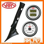 Saas Pillar Pod White Boost Dual Volts Gauges For Ford Ranger Px Mkii And Everest