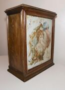 Antique The Diamond Dyes Girl Tin Lithograph Company Store Wood Cabinet Display