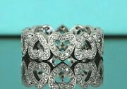 7250 And Co Platinum Eternity 1ct Round Diamond Open Hearts Ring Band 4.5
