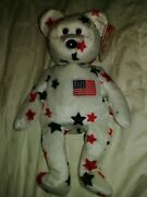 Ty Beanie Babies Glory The Bear 1997 Rarevintagered Stamp Mint Wt W/ Errors