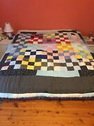 Vintage Hand Sewn Patchwork Quilt - Vintage Fabrics - Hand Quilted Stitched