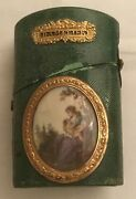 Antique 18th Century French Gilt Mounted And Painted Inset Shagreen Covered Nandeacutece
