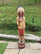 John Gallagher Carved Wooden Cigar Store Indian 6 Ft. Buffalo Very Detailed