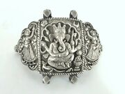 Antique Silver Armlet/arm Ornament Fine Embossed Ganesh Ridhi And Sidhi.g10-48