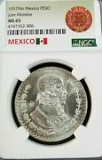 1957 Mexico Silver Un Peso Jose Morelos Ngc Ms 65 First Year Bright Luster Gem