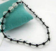 And Co Elsa Peretti Sphere 18k White Gold Rock Crystal Black Cord Necklace