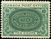 Canada Mint Nh 1898 F-vf Scott E1 10c Special Delivery Stamp
