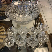 Fostoria American Punch Bowl With 8 Cups Vintage Glass Lovely