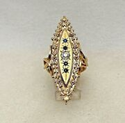 Estate 14kt Yellow Gold 1 X 1 3/4 Long Diamond And Sapphire Ring Size 7 1/2