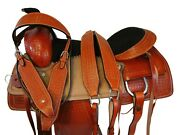 Team Roping Saddle Western Ranch Roper Horse Trail Leather Rodeo Package 16 17