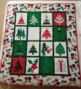 Hand Made Quilt-vintage Flintstone Christmas Fabric-lap Or Throw Size