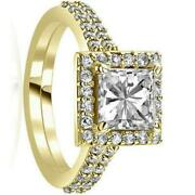 Diamond Ring Halo Solitaire W Accents 1.84 Carats Anniversary 14k Yellow Gold