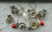 Old Rare Christmas Decorations Lot Yugoslavia Tin Candle Stands Glass Decoration