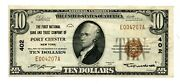 C12166- 1929 10 National Banknote Bank And Trust Company Of Port Chester, Ny - Vf