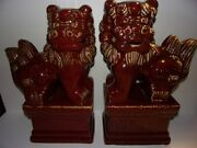 Large Pair Of Chinese Red Glazed Ceramic Foo-dog Statues Guardian,luck,wealth