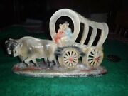 Vintage Lighted Western Wagon With Oxen Tv Lamp Chalkware Plaster