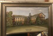 Earlham College, Richmond Indiana, Antique Mirror With Reverse Painting On Glass