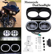 Led Motorcycle Dual Headlight Fit For Harley Road Glide Custom Fltrx 2010-2013