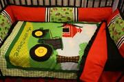 John Deere Tractor Red Bedding - Free Personalized Pillow
