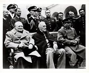February 1945 Army Signal Corps Photo Of Roosevelt, Churchill Andstalin At Yalta