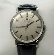 Omega 14k Solid White Gold Vintage Diamond Dial 33mm Watch