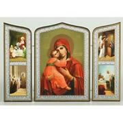 Virgin Of Vladimir With Feast Day Icons Russian Icon Triptych 6 3/4x 10