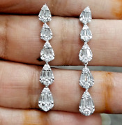 Deal 1.25ct Natural Baguettes Diamond Hanging Chandeliers Earring 14k Gold 34mm