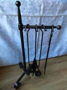 Vintage Metal Fire Place Tools Heavy Duty Iron Holder For Log Toolset - Tongs