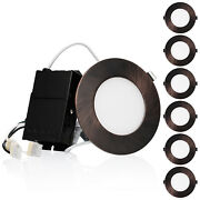 6 Pcs 10.5w 4 Dimmable Ultra-thin Led Recessed Light, 2700k, Oil Rubbed Bronze