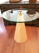 Vtg Mcm Modernist Steve Chase Glass Wood Coffee Side Table With Brass Eye