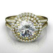 Diamond Ring Halo 18k Yellow Gold 1.75 Carats Si1 Holiday Split Shank Accented